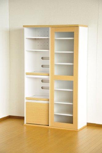 引き戸タイプ食器棚 レンジ台 【フォルム】 SGDL-1890 ナチュラル/ホワイト