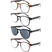 Eyekepper 4-Pack Round Full Coverage Ultrathin Flex Frame Reading Glasses Sun Readers +1.5