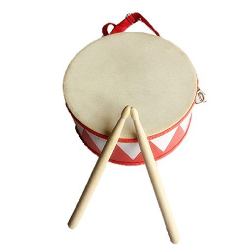 Hoshizoraya ( ほしぞらや ) キッズパーカッション 太鼓 音楽 天然シープ 両面 お子様 の 太鼓 練習 タンバリン付き (レッド)
