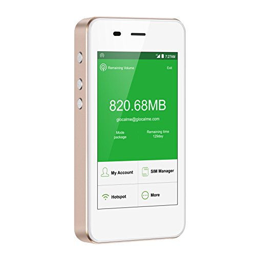 GlocalMe G3 モバイル Wi-Fi ルーター 高速4G LTE デュアルsim ポケットwifi 100ヶ国以上フリーローミング 国内・海外旅行最適 iPhone・Xperia・HTC・Galaxy・iPadなど全機種対応 内蔵5350mAh大容量のモバイルバッテリー 超軽くて携帯便利(ゴールド)