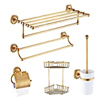 5ピースアンティーク真鍮壁マウントバスルームハードウェアセット (トイレットペーパーホルダー・ローブタオルラック・タオルバー・トイレブラシホルダー・収納バスケット)
