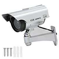 liuzhuo ダミーカメラ ソーラーパネル搭載 セキュリティステッカー付 防犯カメラ 監視カメラ 不審者対策 防犯対策 赤外線ledライト 常時点滅 偽装 屋内外両用 半永久的に使用可能