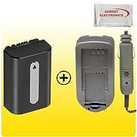 交換用for Sony np-fh50拡張ロングライフバッテリー+ AC / DC急速ホーム、車充電器for most Sonyビデオカメラ、a230、a330、a380アルファDSLR