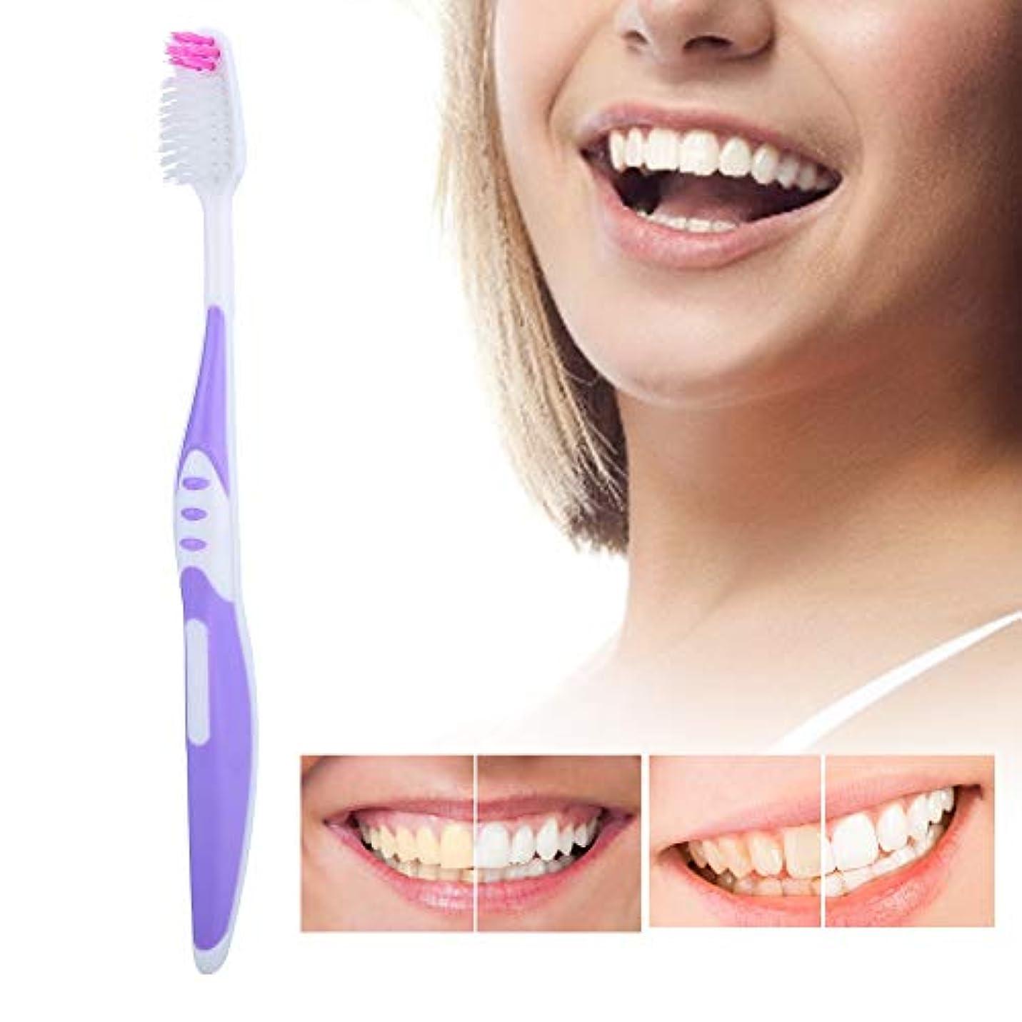 人気安全抑制するソフトブラシ髪の歯ブラシ10個入りpp滑り止めハンドル歯のクレンジングブラシ用大人パープル