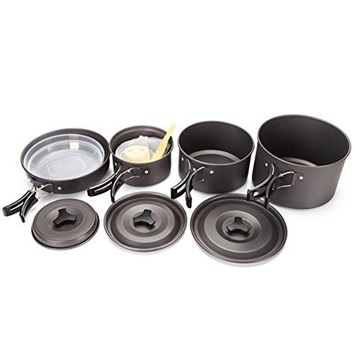 HONSAN アルミクッカーセット 4-5人に適応 調理器具 BBQ用 キャンプ アウトドア 料理鍋 収納袋付き