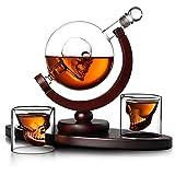 Whiskey Decanter Globe Set with 2 Etched Globe Whisky Glasses for Liquor Whiskey Bourbon Vodka Skull Decanter