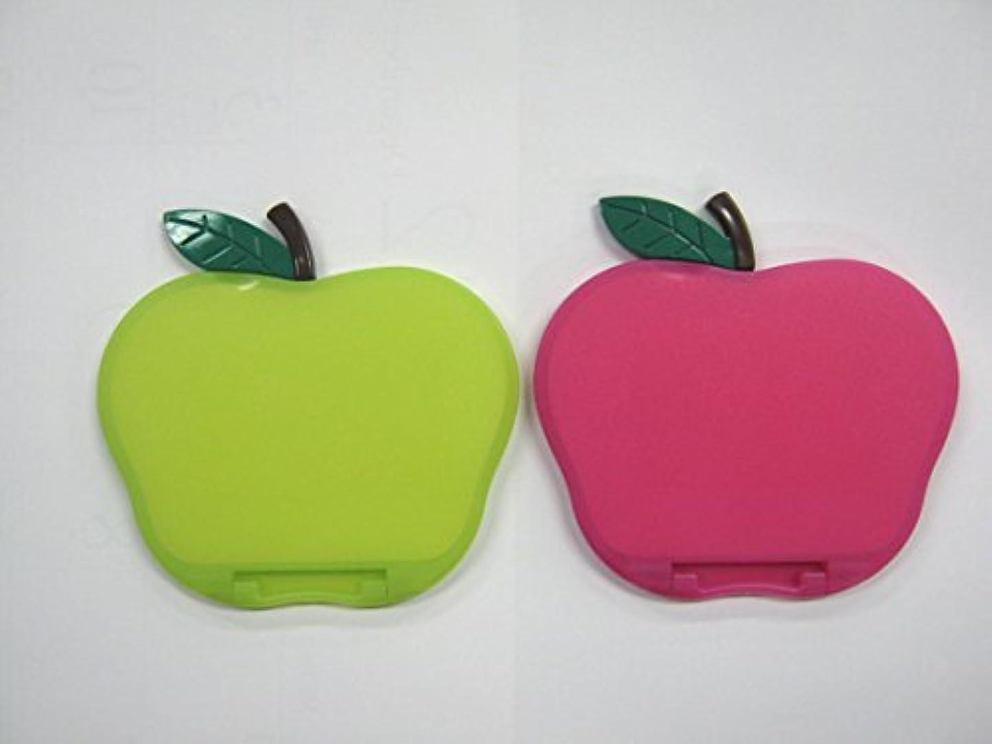 揮発性バウンス列挙するリンゴ型コンパクトミラー カラー:ピンク、グリーン AP580 (グリーン)