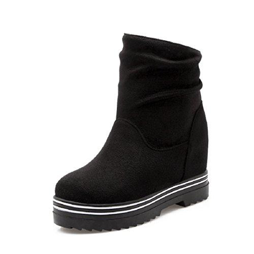 [해외]hexiajia (헤샤쟈) 여성 구두 청설모 가죽 부츠 쇼트 부츠 하이힐 통굽 신발 논 스립 솔 겨울 부츠 방한 保暖 눈 부츠 겨울 신발/hexiajia (Heshaja) Women`s Shoes Mouton Boots Leather Boots Shot Boots High Heels Thick Bottom Shoes Non Slip ...