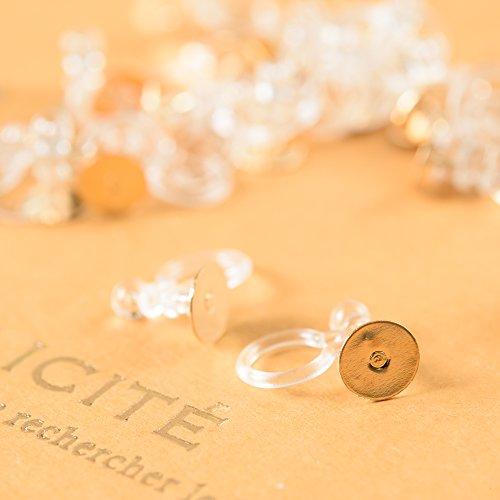 ノンホールピアス 樹脂 平皿ピアス付き【ゴールド 6mm】10個 ピアスみたいなイヤリングパーツ ハンドメイド 金具 材料