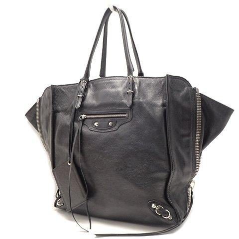 BALENCIAGA(バレンシアガ) ペーパーハンドバッグ 鞄 カーフ ブラック 黒 ★ 18031165【中古】【アラモード】