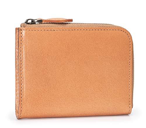 f4367975ab71 POYOLEE 財布 メンズ L字ファスナー 本革 小型財布 磁気スキミング防止 コンパクト ナチュラル