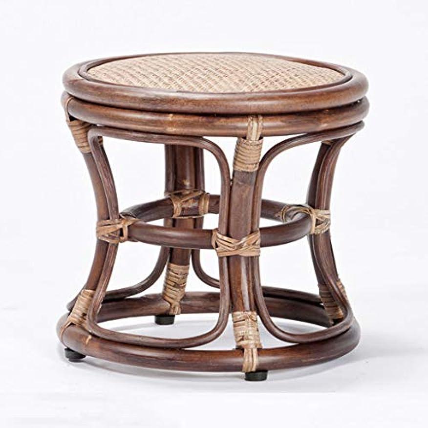 より平らな富サラミスツールラタン木製のスツールスツール現代的なミニマリストファッションシューズベンチクリエイティブラタンオットマンドレッシングスツール チェア?ベンチ (Color : Brown, Size : 36*36*32CM)