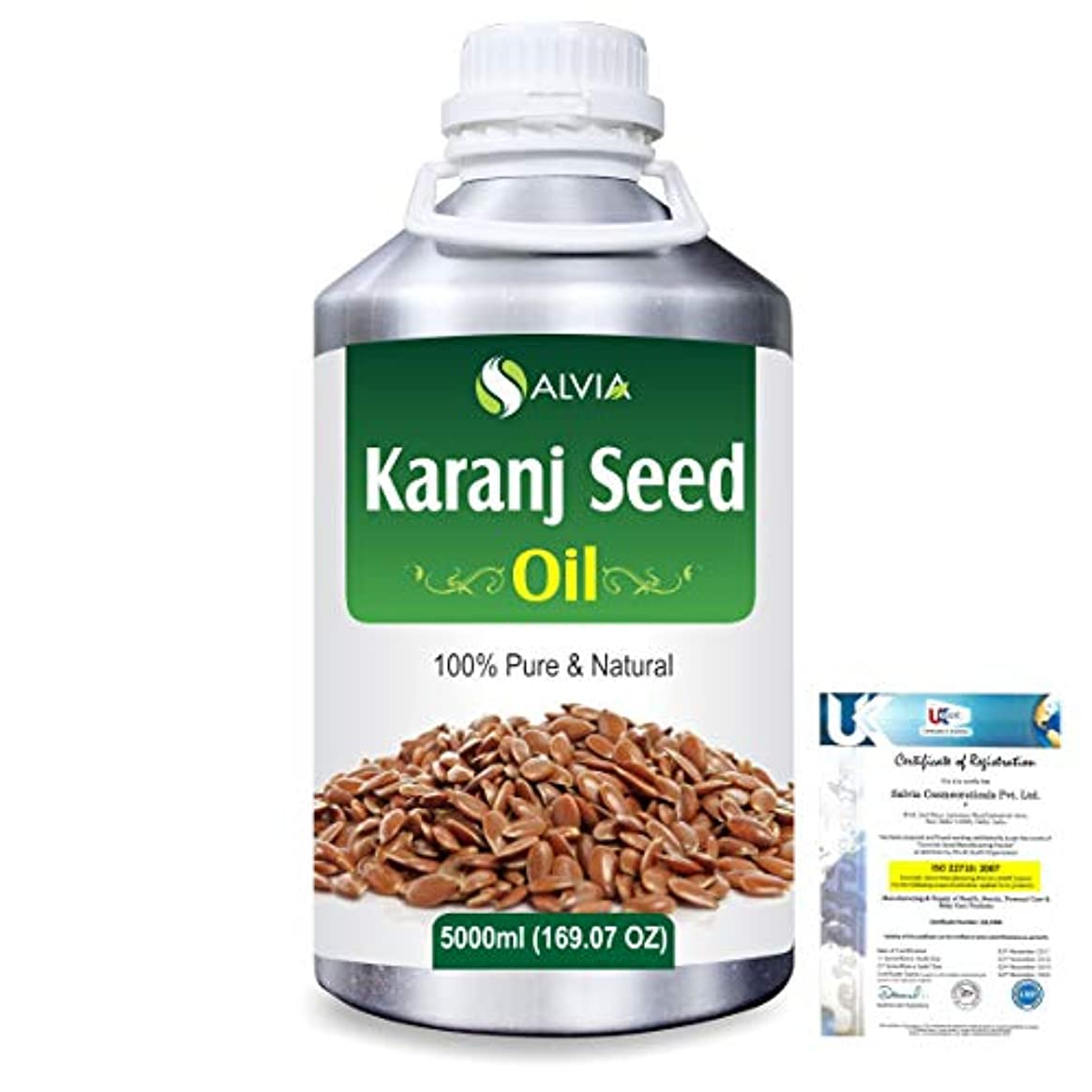 基礎脈拍救いKaranj Seed (Pongamia glabra) Natural Pure Undiluted Uncut Carrier Oil 5000ml/169 fl.oz.