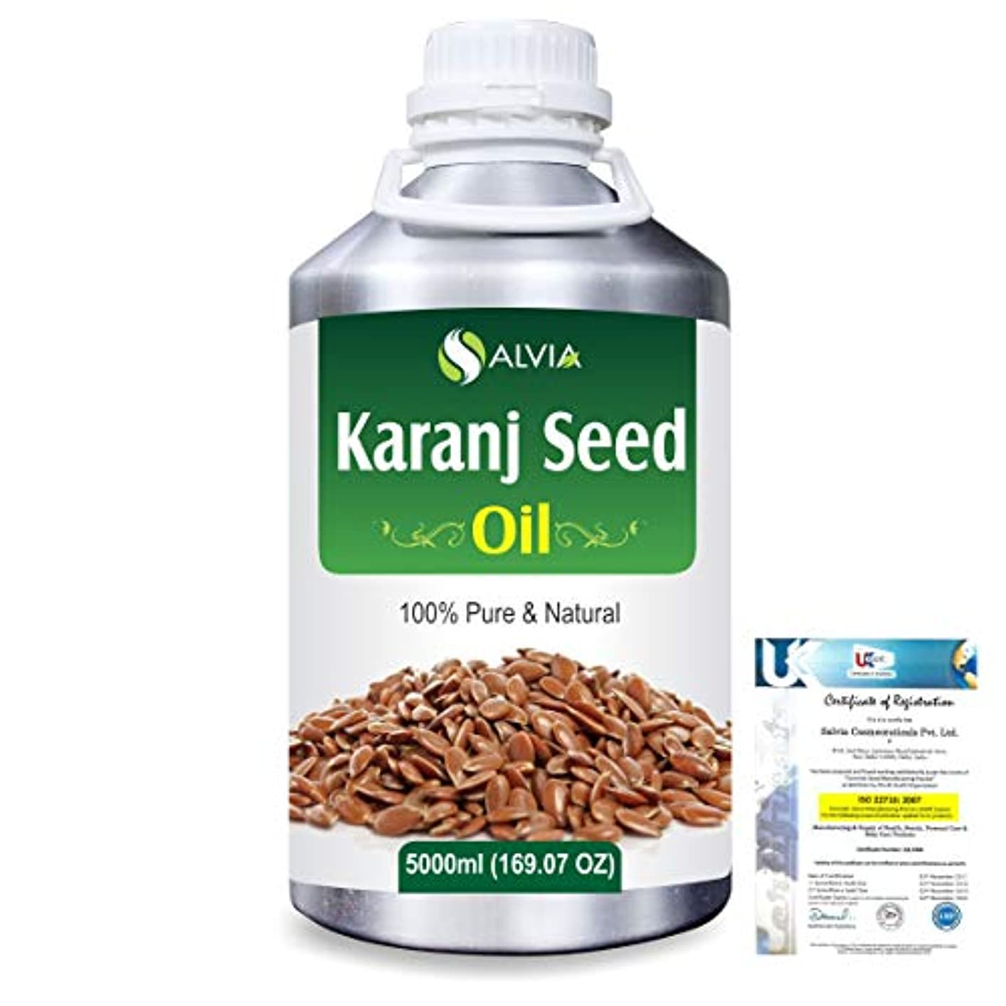 怠惰アナログ群がるKaranj Seed (Pongamia glabra) Natural Pure Undiluted Uncut Carrier Oil 5000ml/169 fl.oz.