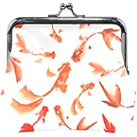 AOMOKI 財布 小銭入れ ガマ口 コインケース レディース メンズ レザー 丸形 おしゃれ プレゼント ギフト オリジナル 小物ケース 金魚 魚柄