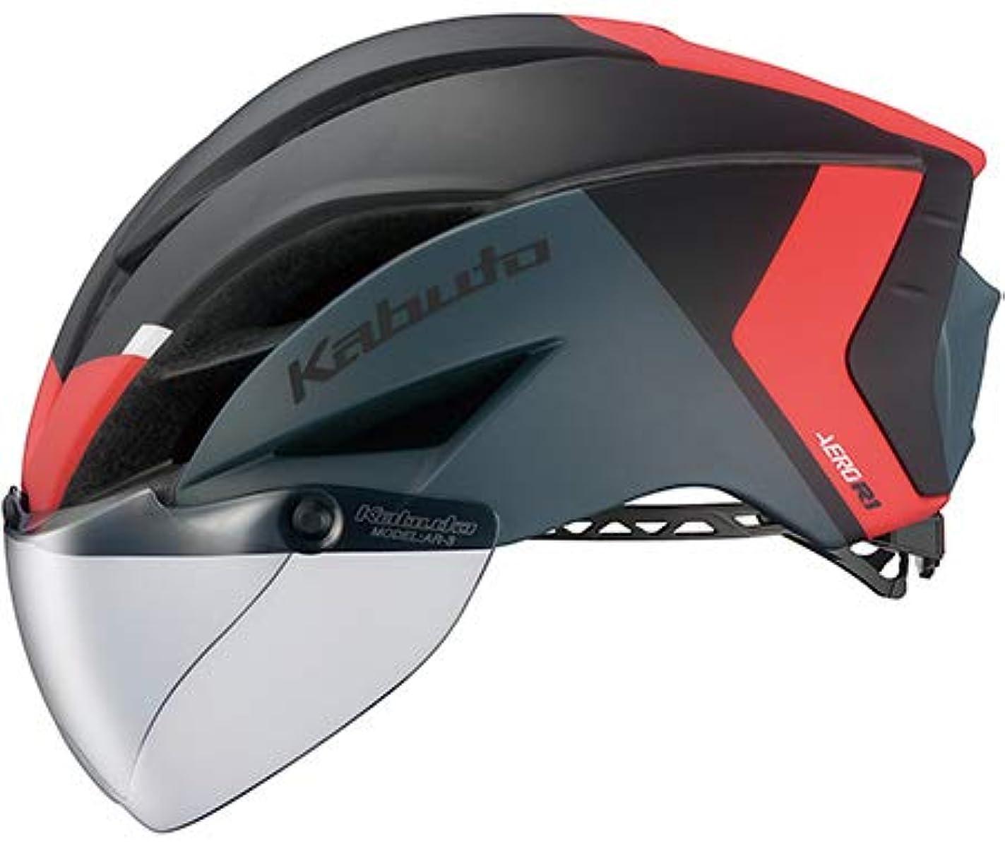 高齢者狐十分ではないOGK Kabuto オージーケーカブト AERO-R1 エアロR1 S/Mサイズ G-2マットブラックレッド ヘルメット