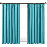 NICETOWN 遮光カーテン 2枚セット スカイブルー リビングルーム UVカット 幅100cm丈110cm