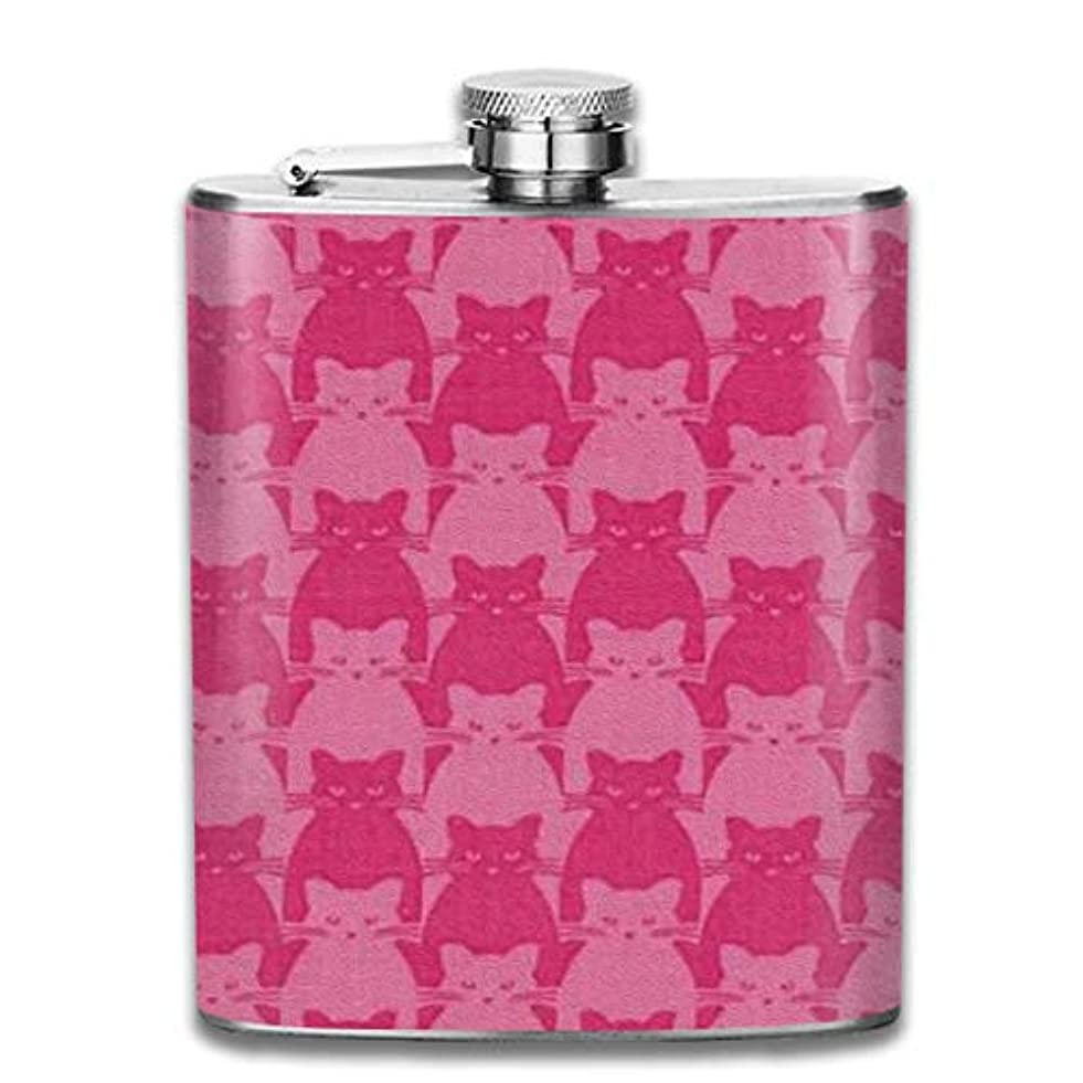 手首精巧な蒸留ピンクの猫フラスコ スキットル ヒップフラスコ 7オンス 206ml 高品質ステンレス製 ウイスキー アルコール 清酒 携帯 ボトル