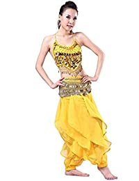 SODIAL ベリーダンスのコスチューム服装 ピーマントップスブラジャー ゴールドの波状ハレムパンツが付きます スカートセット ライトブルーカラー