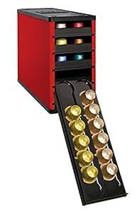 ネスプレッソ Nespresso コーヒーカプセル専用収納ケース カフェスタック 60個収納可能 整理箱(High Gloss Red)