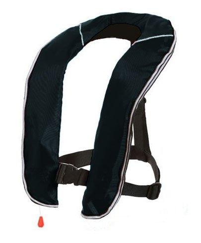 EYSON ライフジャケット インフレータブルベストタイプ 自動/手動膨張式 救命胴衣9色から選択可 釣り用 CE認定済(ブラック, 自動式)