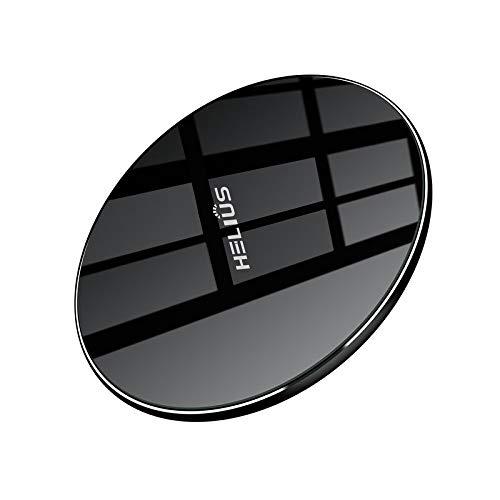ワイヤレス充電器 Qi認証済み 急速充電 10W Helius スマホ Qi 充電器 アンドロイド アイフォン 充電器 チャージャー 軽量 滑り止め 置くだけ充電 iPhone X/8/8 Plus/Android、GalaxyS9/S9+/S8/S8+/S7 対応 他のQi対応機種 USBケーブル付(ブラック)