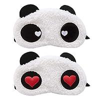 Cute Panda Eye Mask, 2Pcs Soft Fluffy Sleep Shade Cover Rest Blindfold for Travel SleepingAid Novelty Sleep Sleepover Party