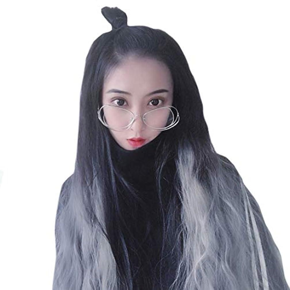 クラックモンゴメリー仮装Kerwinner 女性のための自然な探している長い波状のないレースの耐熱性の取り替えかつら完全な合成かつら