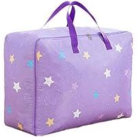 星のパターンストレージバッグ3PCSポータブル折り畳み式オックスフォード布防水性防湿コットンキルトストレージ大きな荷物衣類移動仕上げ収納袋3個/セット (色 : Purple, サイズ さいず : 58 * 22 * 38cm)