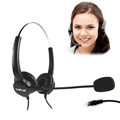 [해외]triproc 4 핀 rj9 플러그 핸즈프리 마이크와 유선 콜센터 헤드셋 &  어댑터 for rj9 포트 headset-ready 데스크 전화/triproc 4 pin rj 9 plug hands free microphone with corded call center headset &  adapter for rj 9 port headset - ready de...