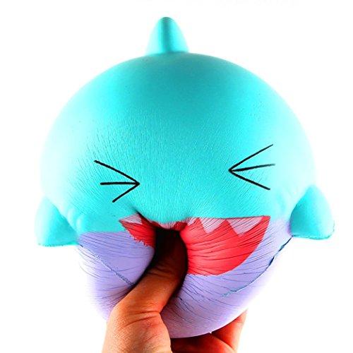 Aliciga 大笑いサメ スクイーズ ブルーム PU素材低反発おもちゃ ストレス解消 香り 押し出すおもちゃ おもしろい 減圧発散玩具 かわいい 癒す もちもち 子供 大人に適合 パーティー 家 飾り 萌え 動物 人形 (ライトブルー)