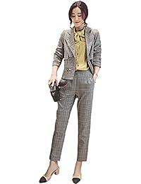 [美しいです] スーツ 洋服 レディース コート 二点セット ビジネス チェック柄 パンツ セット 春 秋 ウエスト締める イングランド風 スリム