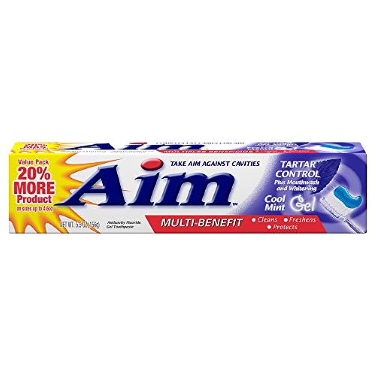 シェルター強大な混乱AIM タルタルコントロール虫歯予防フッ化物歯磨きジェル - 5.5オズ、3パック