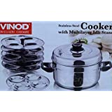 Vinod Stainless Steel Cooker with 5 Multi Layer IDLI Stand