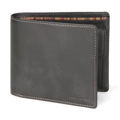(ポールスミス) Paul Smith ハンドステインカーフ 小銭入れ付き 二つ折り財布 ブラック [並行輸入品]