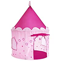 Songmics Princess Castle Play Tent for Girls幼児用、インドアとアウトドアPlayhouse、ポータブルPop Up Play Teepee with glow-in-the-dark星、子供のギフト、ASTM f963認定、ピンクulpt01pk