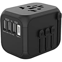 Jollyfit International Universal Travel Adapter USB Charger AC Power Wall Plug US UK AU EU Worldwide 150 Countries with Safe Fuse for Europe Asia Germany France Italy India China Russia American British European Adapter (3 USB and Type C, Black)