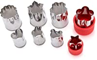 Set of 8 - Stainless Steel Vegetable Cutters - Multi Shapes Cake Vegetable Fruit Cutter Mould - Adorable Mini Cookie Chocolate Fruit Vegetables Pie Crust Decor