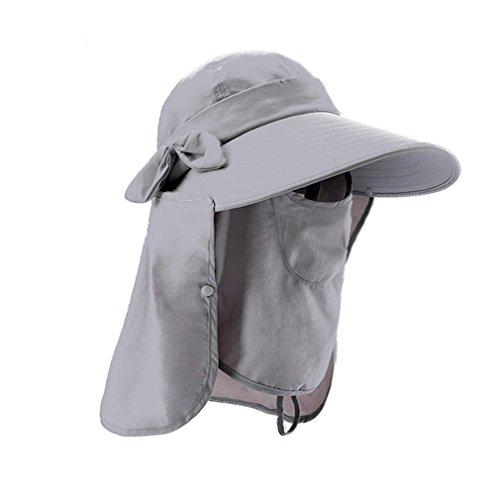 LC-dolida 日よけ帽子 UVカット 日除け帽 日焼け止め 顔ガード 顔全体 カバー ハット アウトドア 農作業 ガーデニング 庭 紫外線対策に 女性用(グレイ)