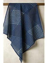 インド更紗 木版染めコットンボイルバンダナ (ハンカチ?スカーフ) 草花/象/幾何学模様
