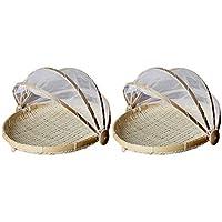 SM SunniMix 2個 竹 テント バスケット 食べ物 メッシュ ネットカバー 食品保護 S ラウンド