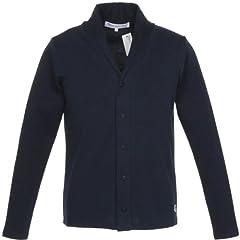 Glacon Cotton Shawl Collar Cardigan: Navy