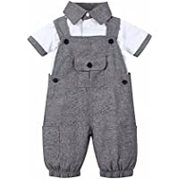 Isugar Baby Boy 2 Piece Short Sleeved Gentleman T-Shirt Overalls Outfit Set