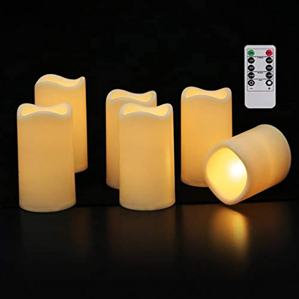 軸マウントクスコFlameless Candles h4.5 X d3 LEDキャンドルちらつきElectricキャンドル6hタイマー電池式パーティ用ウェディングデコレーション6パックアイボリーby mingfuxion