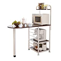 FANGFA キッチン棚電子レンジ用食器4階収納ラックポットラックアングルフレームブラッククルミ