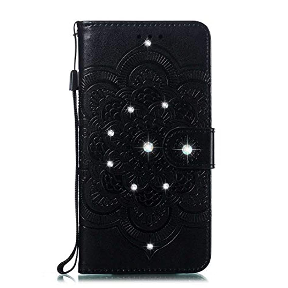 考えたそばに昼間OMATENTI Huawei P Smart ケース 手帳型 かわいい レディース用 合皮PUレザー 財布型 保護ケース ザー カード収納 スタンド 機能 マグネット 人気 高品質 ダイヤモンドの輝き マンダラのエンボス加工 ケース, 黒