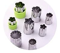 ステンレス鋼野菜と果物カビエンボス金型,8色グリーンセット(フラワー4サイズ)