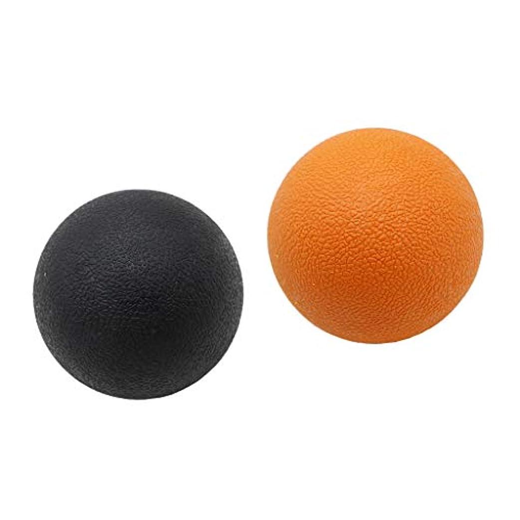 廃棄農夫細部マッサージボール トリガーポイント ストレッチボール トレーニング 背中 肩 腰 マッサージ 多色選べる - オレンジブラック