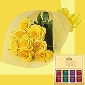誕生日プレゼント イエローローズ花束&トワイニング紅茶ティーバッグ お父さんへのメッセージカード付き