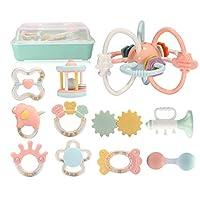 Siyushop ラトル 歯 グルーセット グラブ おもちゃ チューイングリング ラトル スーツケース 新生児 赤ちゃん 男の子 女の子 ギフト 6-8-10個セット